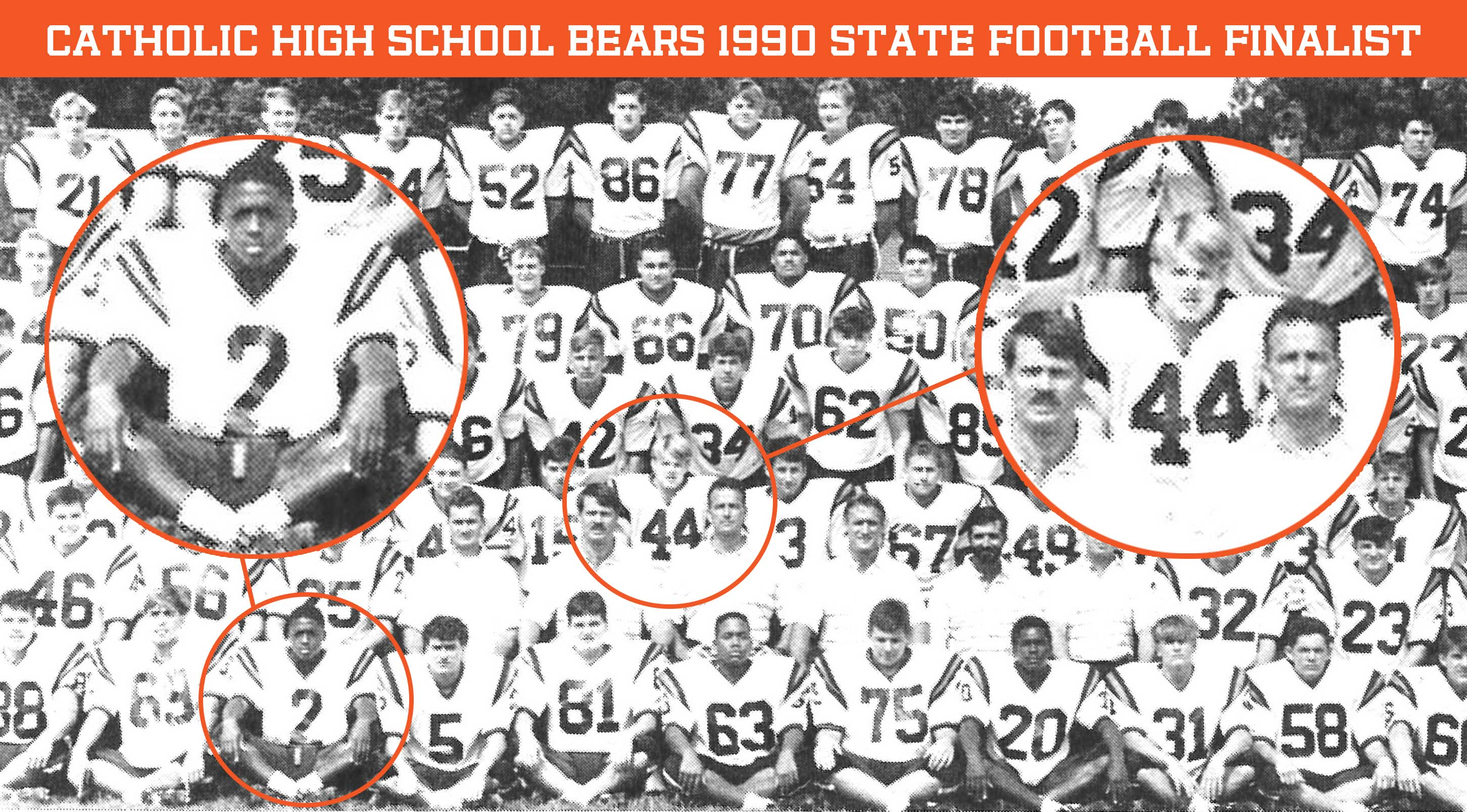Catholic High School 1990 State Football Finalist - Ryan Jumonville (#44) and Warrick Dunn (#2)